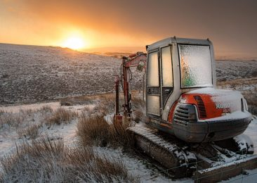 Dartmoor snow and digger