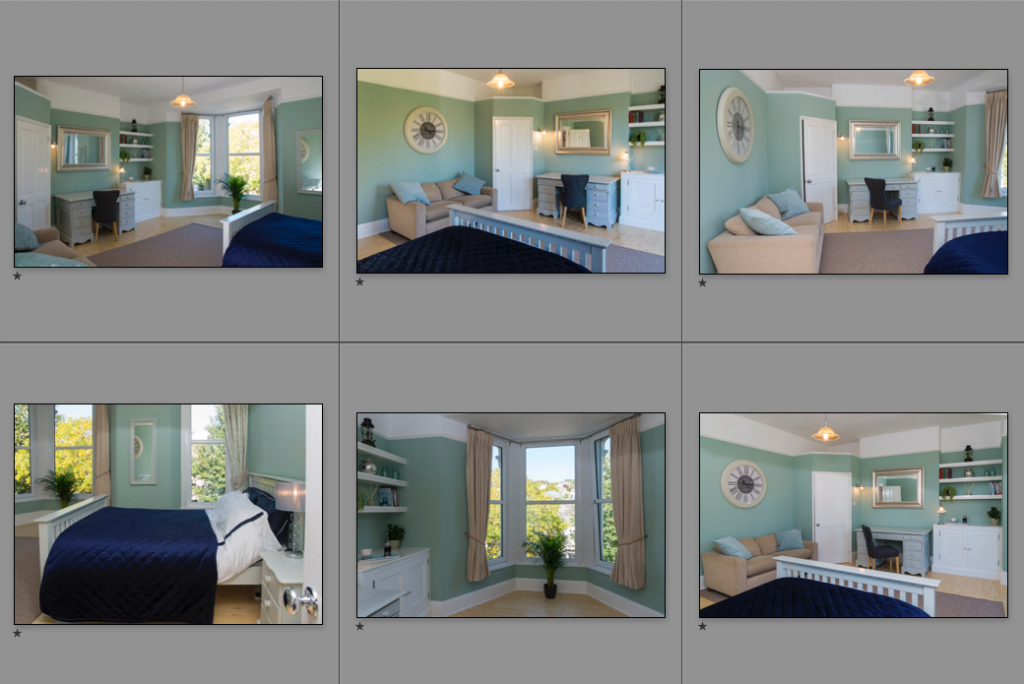 Photos of a bedroom arranged in Lightroom, ready for editing