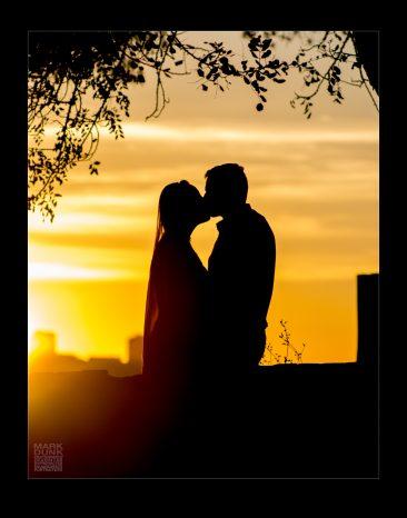 Portuguese wedding couple at sunset